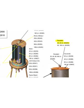 Rondelle ecrou couvercle Hydropress 20/40L Speidel